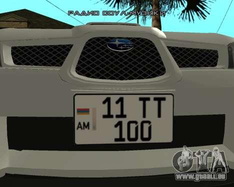 Subaru Impreza Armenian für GTA San Andreas zurück linke Ansicht