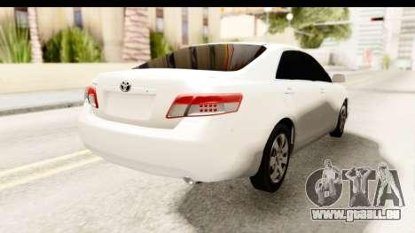 Toyota Camry GL 2011 pour GTA San Andreas sur la vue arrière gauche