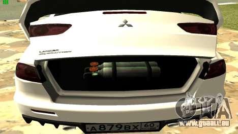 Mitsubishi Lancer X GVR pour GTA San Andreas vue de côté