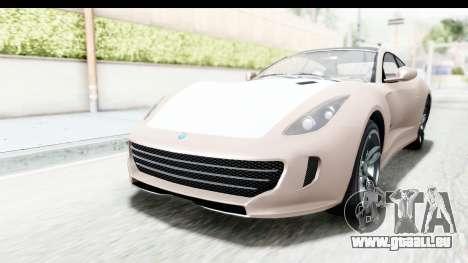 GTA 5 Grotti Bestia GTS with MipMap für GTA San Andreas zurück linke Ansicht
