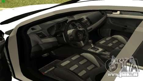 Mitsubishi Lancer X GVR für GTA San Andreas Rückansicht