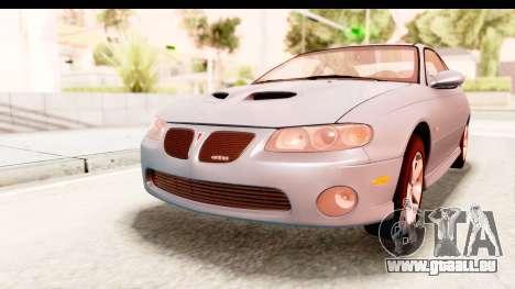 Pontiac GTO 2006 für GTA San Andreas zurück linke Ansicht