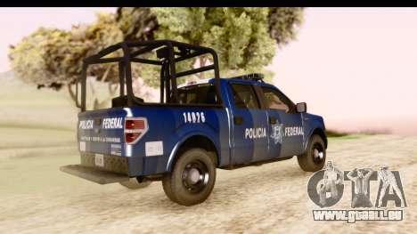 Ford F-150 Policia Federal pour GTA San Andreas sur la vue arrière gauche