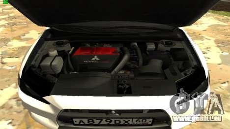 Mitsubishi Lancer X GVR pour GTA San Andreas vue intérieure