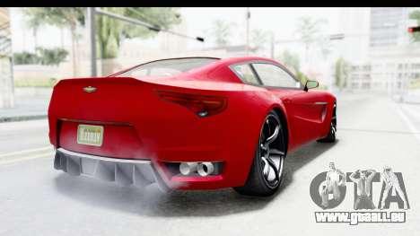 GTA 5 Dewbauchee Seven 70 IVF pour GTA San Andreas sur la vue arrière gauche