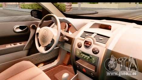 Renault Megane 2 Sedan 2003 pour GTA San Andreas vue intérieure