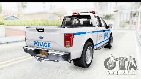 Ford F-150 Police New York pour GTA San Andreas sur la vue arrière gauche