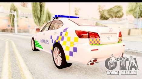 Lexus IS F PDRM für GTA San Andreas zurück linke Ansicht