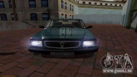 GAZ Volga 3110 pour GTA San Andreas sur la vue arrière gauche