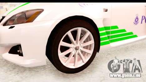 Lexus IS F PDRM für GTA San Andreas Rückansicht