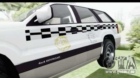 GTA 5 Canis Seminole Taxi Milspec pour GTA San Andreas vue arrière