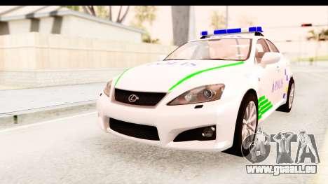 Lexus IS F PDRM für GTA San Andreas rechten Ansicht