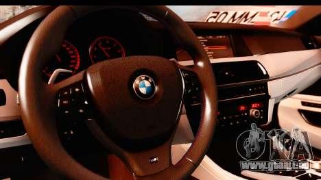 BMW M5 F10 pour GTA San Andreas vue intérieure