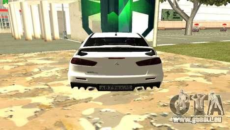 Mitsubishi Lancer X GVR pour GTA San Andreas laissé vue