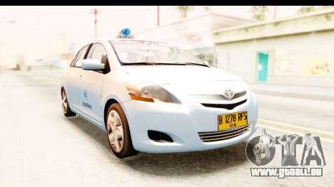 Toyota Vios 2008 Taxi Blue Bird pour GTA San Andreas vue de droite