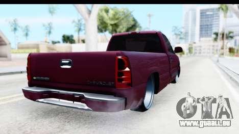 Chevrolet Silverado 2005 Low für GTA San Andreas zurück linke Ansicht