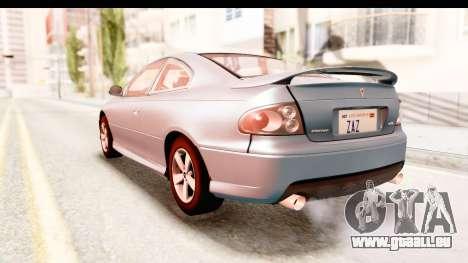 Pontiac GTO 2006 pour GTA San Andreas vue de droite