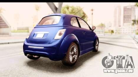 GTA 5 Grotti Brioso pour GTA San Andreas sur la vue arrière gauche