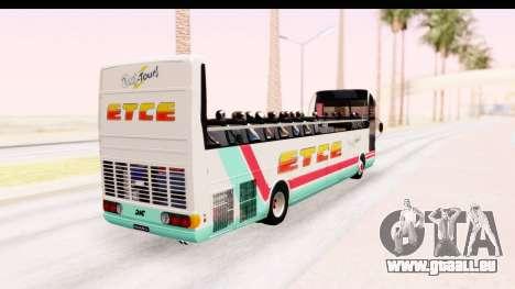 Bus Tours Dic Megadic 4x2 ETCE pour GTA San Andreas sur la vue arrière gauche