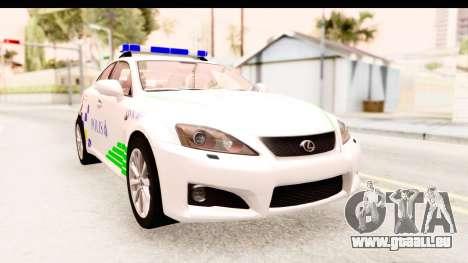 Lexus IS F PDRM pour GTA San Andreas
