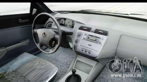 Honda Civic Vtec für GTA San Andreas Innenansicht