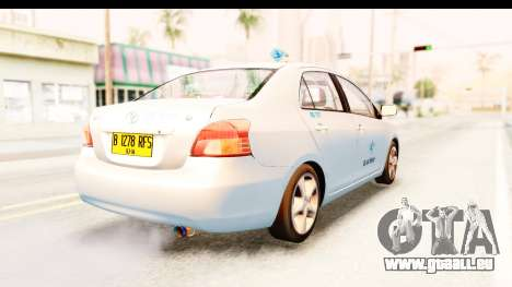 Toyota Vios 2008 Taxi Blue Bird pour GTA San Andreas sur la vue arrière gauche