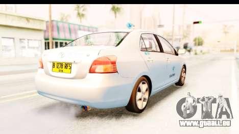 Toyota Vios 2008 Taxi Blue Bird für GTA San Andreas zurück linke Ansicht