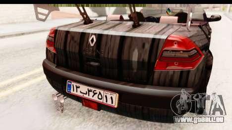 Renault Megane Spyder Full Tuning v2 pour GTA San Andreas vue de dessous