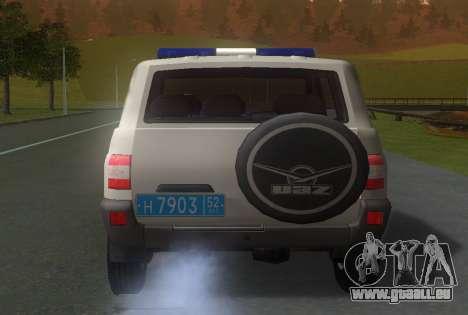 UAZ Patriot de la Police v1 pour GTA San Andreas sur la vue arrière gauche
