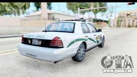 Ford Crown Victoria 2009 Southern Justice für GTA San Andreas zurück linke Ansicht