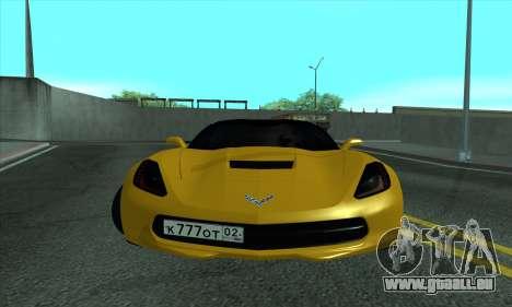 Chevrolet Corvette pour GTA San Andreas laissé vue