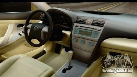 Toyota Camry GL 2011 pour GTA San Andreas vue intérieure