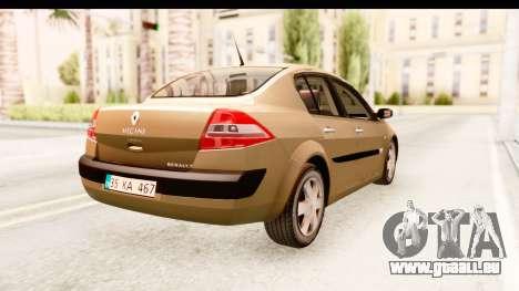 Renault Megane 2 Sedan 2003 pour GTA San Andreas sur la vue arrière gauche