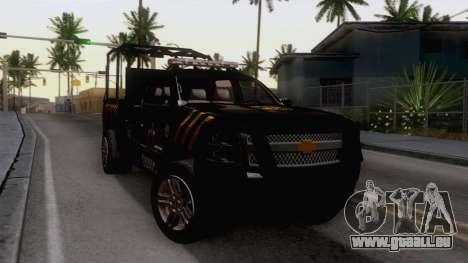 Chevrolet Silverado de la Fuerza Coahuila für GTA San Andreas rechten Ansicht