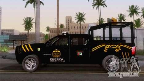 Chevrolet Silverado de la Fuerza Coahuila für GTA San Andreas Rückansicht