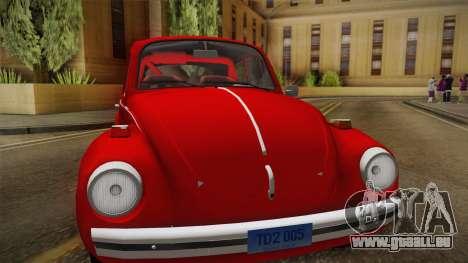 Volkswagen Beetle Escarabajo für GTA San Andreas zurück linke Ansicht