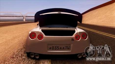 Nissan GT-R R35 für GTA San Andreas Unteransicht