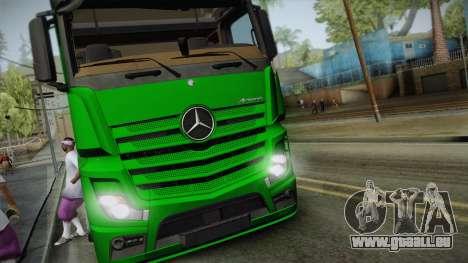 Mercedes-Benz Actros Mp4 6x2 v2.0 Gigaspace v2 pour GTA San Andreas sur la vue arrière gauche