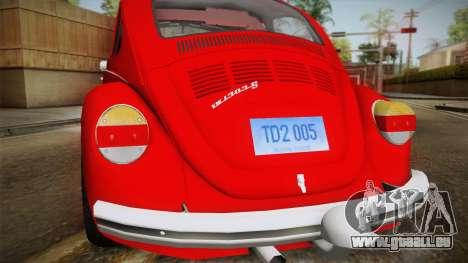 Volkswagen Beetle Escarabajo für GTA San Andreas rechten Ansicht