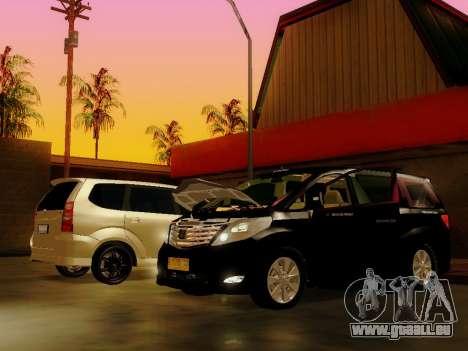 Toyota Alphard Taxi Silver Bird für GTA San Andreas zurück linke Ansicht
