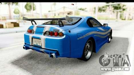 NFS: Carbon Darius Toyota Supra Updated pour GTA San Andreas sur la vue arrière gauche