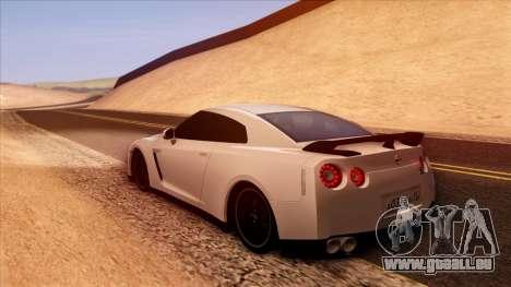 Nissan GT-R R35 für GTA San Andreas zurück linke Ansicht