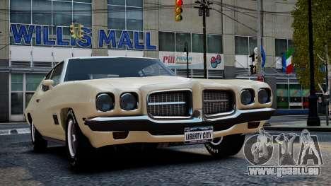Pontiac LeMans Coupe 1971 pour GTA 4 vue de dessus