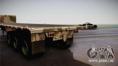 GTA 5 Army Flat Trailer IVF für GTA San Andreas zurück linke Ansicht