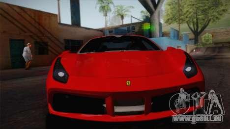 Ferrari 488 Spider pour GTA San Andreas sur la vue arrière gauche