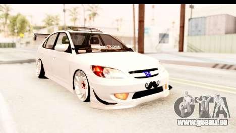Honda Civic Vtec 2 Berkay Aksoy Tuning pour GTA San Andreas sur la vue arrière gauche