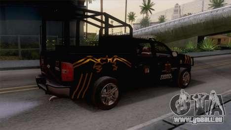 Chevrolet Silverado de la Fuerza Coahuila für GTA San Andreas zurück linke Ansicht