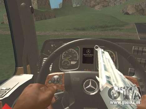 Mercedes-Benz Actros Mp4 4x2 v2.0 Steamspace v2 pour GTA San Andreas vue intérieure