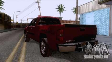 GMC Sierra 2015 pour GTA San Andreas sur la vue arrière gauche
