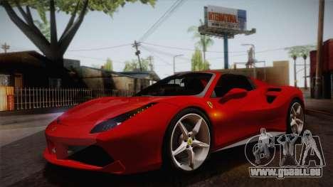 Ferrari 488 Spider pour GTA San Andreas vue intérieure